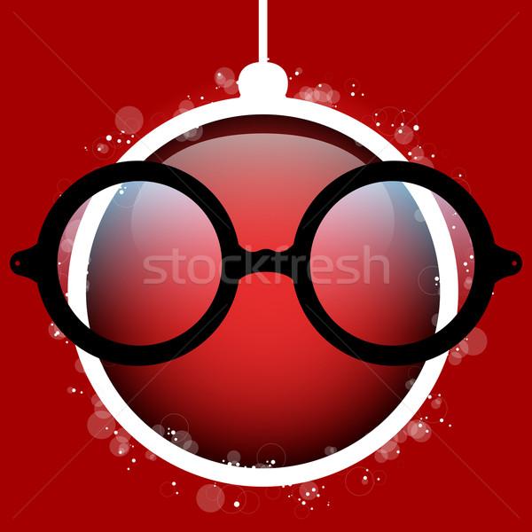 Vidám karácsony piros labda szemüveg vektor Stock fotó © gubh83