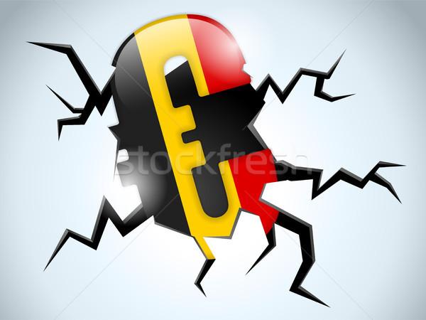 Stok fotoğraf: Euro · para · kriz · Belçika · bayrak · çatlamak