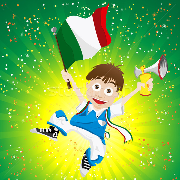 Italy Sport Fan with Flag and Horn Stock photo © gubh83
