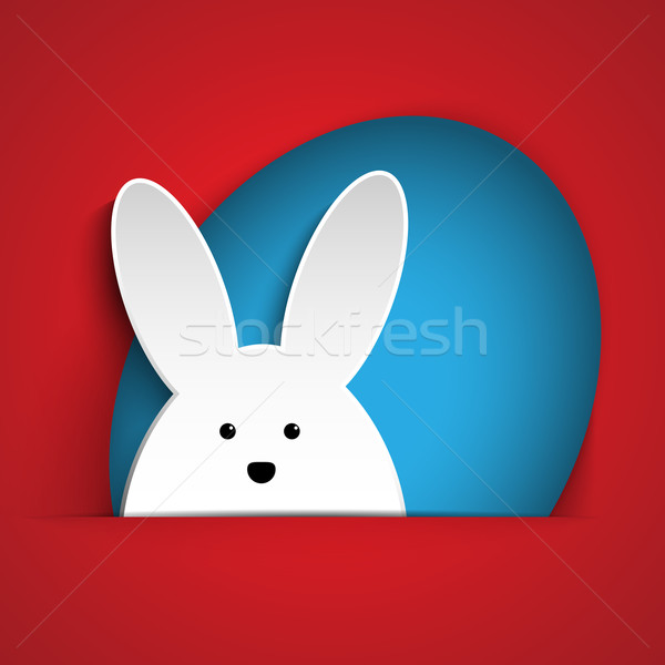 Happy Easter Rabbit Bunny on Red Background Stock photo © gubh83