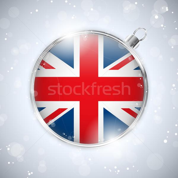 Zdjęcia stock: Wesoły · christmas · srebrny · piłka · banderą · Zjednoczone · Królestwo