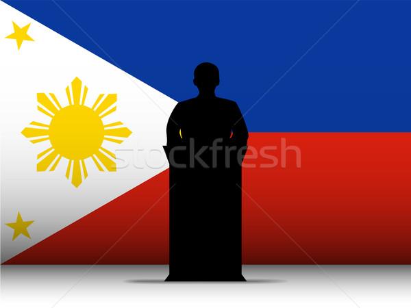 Philippines  Speech Tribune Silhouette with Flag Background Stock photo © gubh83
