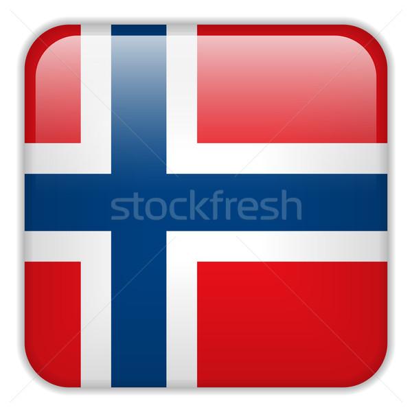 Noorwegen vlag smartphone toepassing vierkante knoppen Stockfoto © gubh83