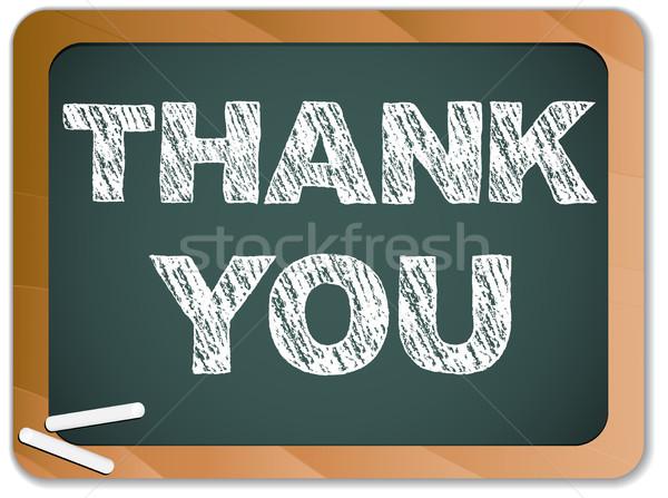 Blackboard dank u bericht geschreven krijt vector Stockfoto © gubh83