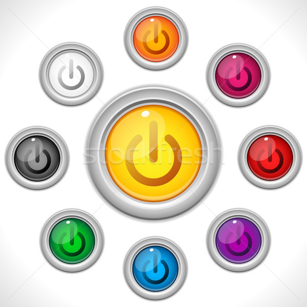 ストックフォト: ボタン · 色 · ウェブ · オフ · ベクトル · 光
