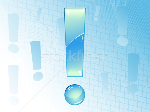 Blue and Glossy Exclamation Mark Background.  Stock photo © gubh83
