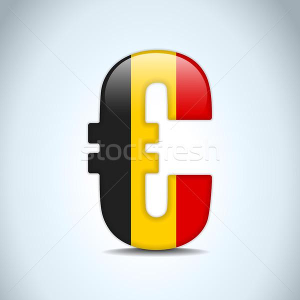 Stok fotoğraf: Euro · simge · Belçika · bayrak · vektör · para
