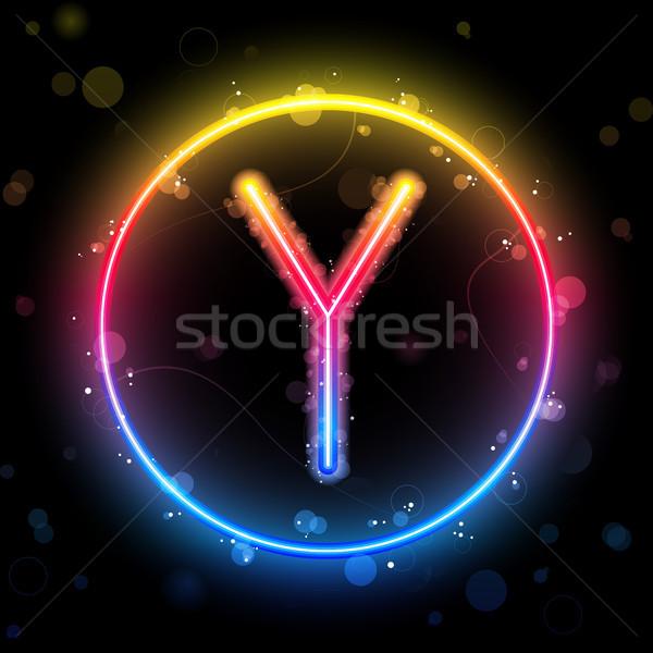 Alfabe gökkuşağı ışıklar daire düğme vektör Stok fotoğraf © gubh83