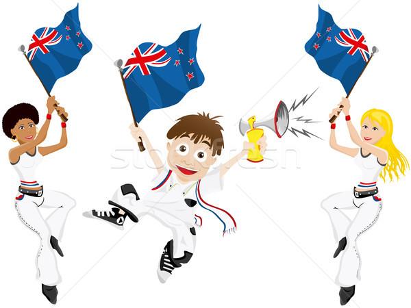 Foto stock: Nueva · Zelandia · deporte · ventilador · bandera · cuerno · vector