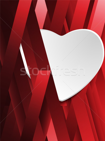 Gizlenmiş beyaz kalp geometrik kırmızı vektör Stok fotoğraf © gubh83