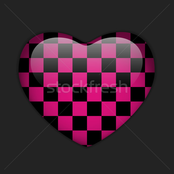 alentines Day Glossy Emo Heart. Pink and Black Checkers Stock photo © gubh83