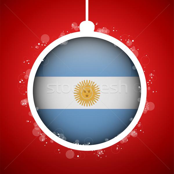 Alegre natal vermelho bola bandeira Argentina Foto stock © gubh83