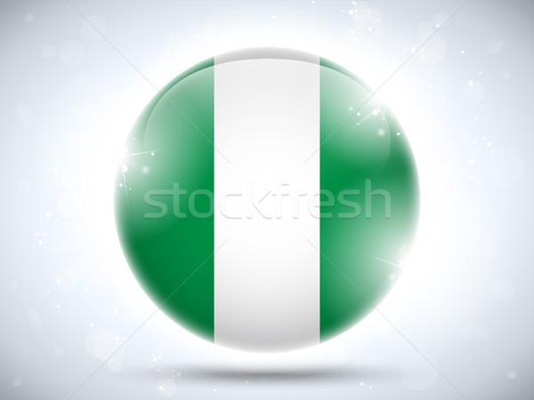 Nigéria bandeira botão vetor vidro Foto stock © gubh83
