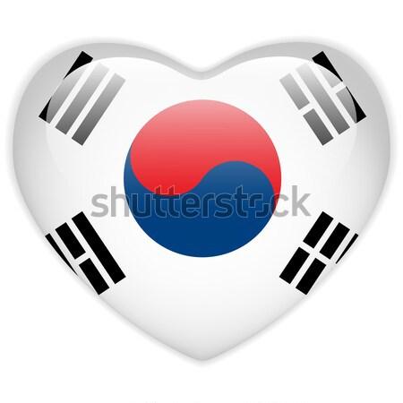 Güney Kore bayrak kalp parlak düğme vektör Stok fotoğraf © gubh83