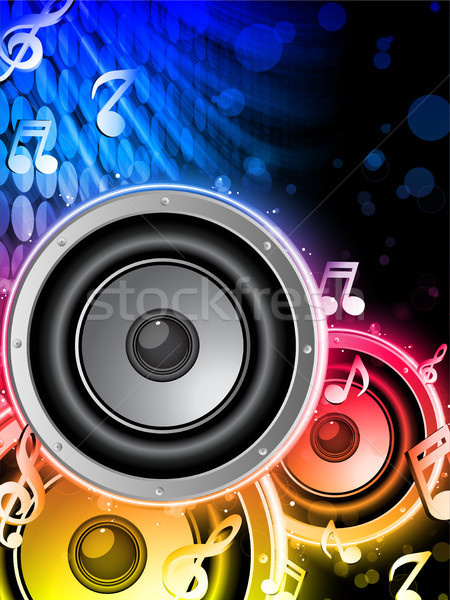 Disco Speaker with Music Notes in Neon Rainbow Circle Stock photo © gubh83