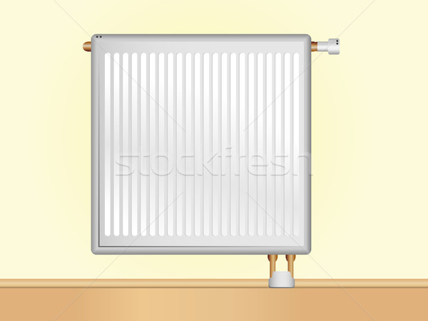 Vektör radyatör bej duvar düzenlenebilir ev Stok fotoğraf © gubh83