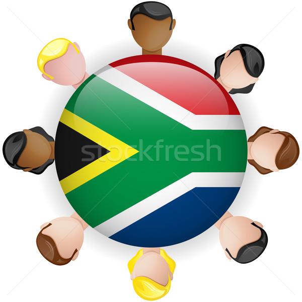 ストックフォト: 南アフリカ · フラグ · ボタン · チームワーク · 人 · グループ