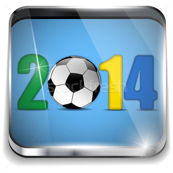 Brazília 2014 futball zászló vektor sport Stock fotó © gubh83