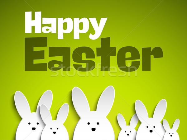 Happy Easter Rabbit Bunny on Green Background Stock photo © gubh83