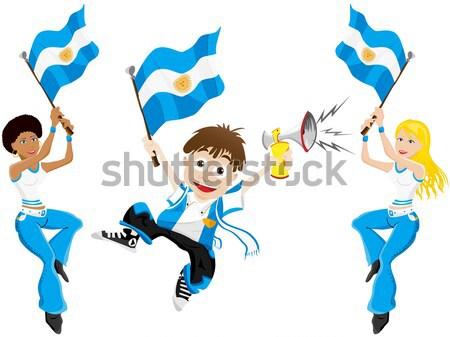 черный девушки Аргентина Футбол вентилятор флаг Сток-фото © gubh83