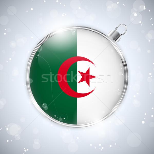 веселый Рождества серебро мяча флаг Алжир Сток-фото © gubh83