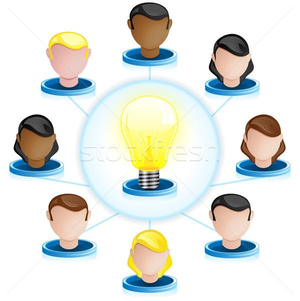 Yaratıcılık ağ crowdsourcing vektör bilgisayar ışık Stok fotoğraf © gubh83