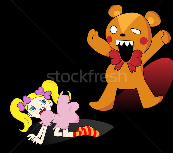 Girl and Horror Teddy Bear Stock photo © gubh83