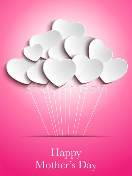 Zdjęcia stock: Szczęśliwy · matka · dzień · serca · wektora · papieru