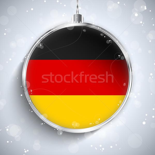 Foto stock: Alegre · Navidad · plata · pelota · bandera · Alemania