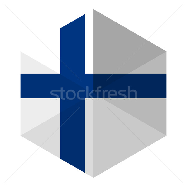 Finland Flag Hexagon Flat Icon Button Stock photo © gubh83