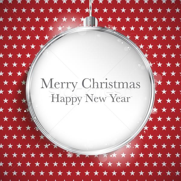 Vrolijk christmas gelukkig nieuwjaar bal zilver star Stockfoto © gubh83