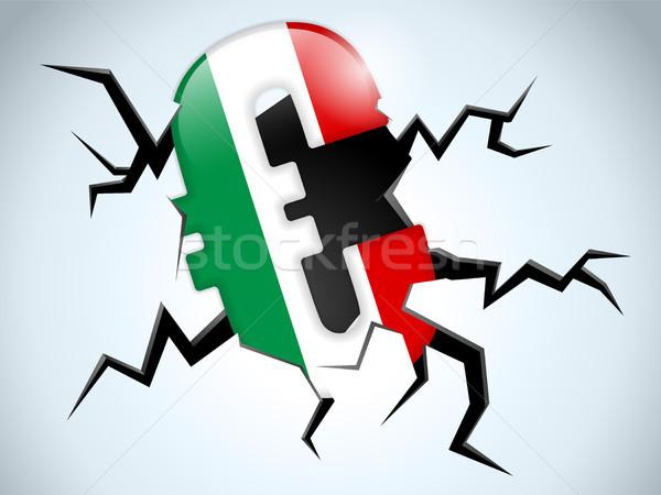 Stock fotó: Euro · pénz · válság · Olaszország · zászló · törés