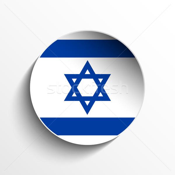 İsrail bayrak kâğıt daire gölge düğme Stok fotoğraf © gubh83