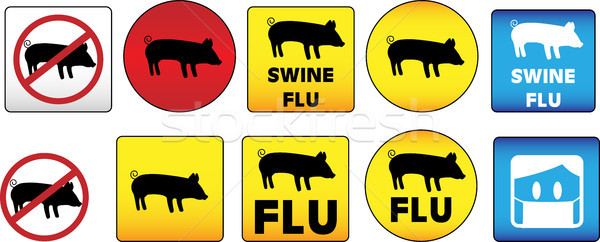 Sertés influenza feliratok veszély figyelem egészség Stock fotó © gubh83