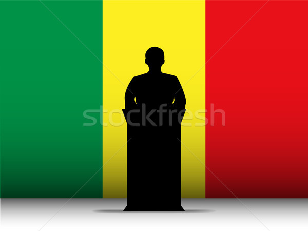 Mali Speech Tribune Silhouette with Flag Background Stock photo © gubh83
