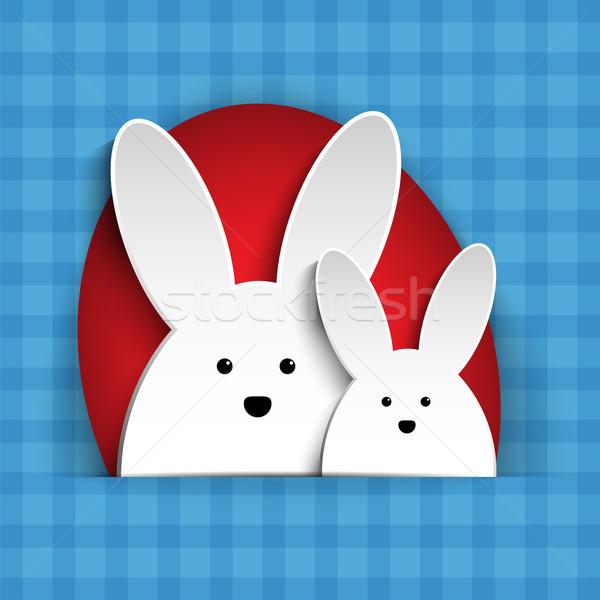 Vrolijk pasen konijn bunny Blauw vector voorjaar Stockfoto © gubh83