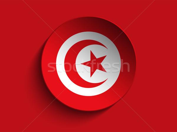 Bayrak kâğıt daire gölge düğme Tunus Stok fotoğraf © gubh83
