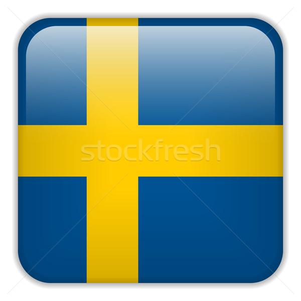 Svédország zászló okostelefon alkalmazás tér gombok Stock fotó © gubh83