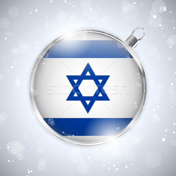 Merry Christmas Silver Ball with Flag Israel Stock photo © gubh83