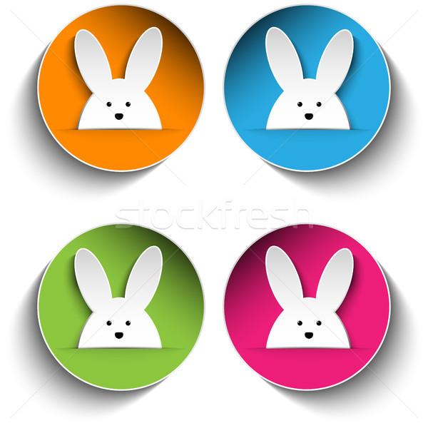 Szett négy kellemes húsvétot nyuszi matricák vektor Stock fotó © gubh83
