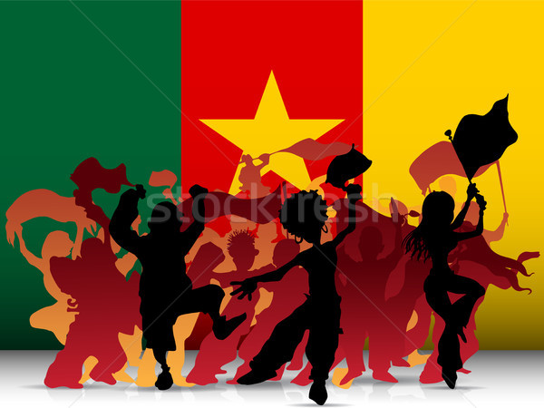 Kamerun sportu fan tłum banderą wektora Zdjęcia stock © gubh83