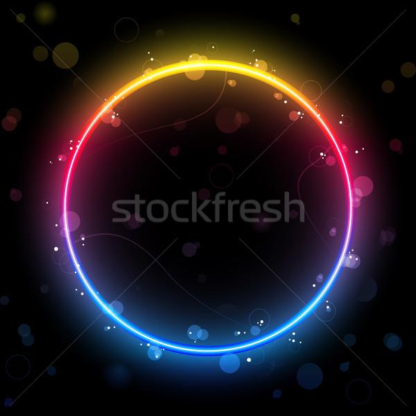 Rainbow Circle Border with Sparkles and Swirls. Stock photo © gubh83