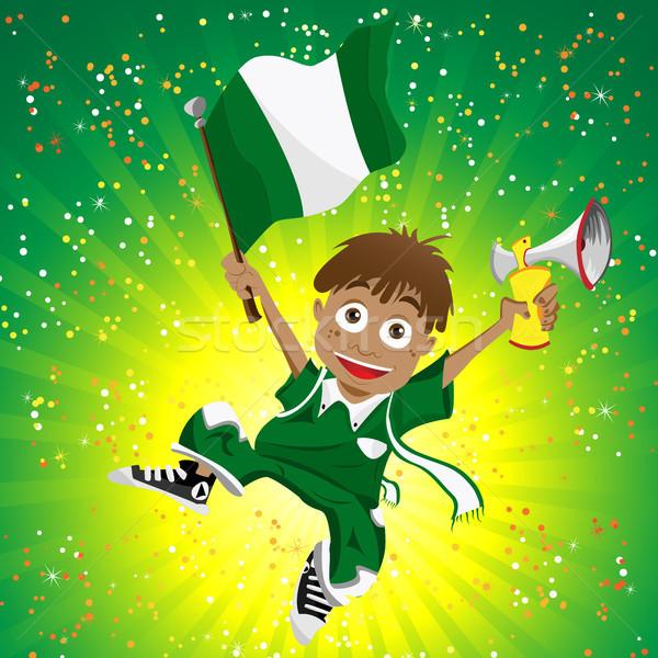 Nigéria esportes ventilador bandeira chifre vetor Foto stock © gubh83