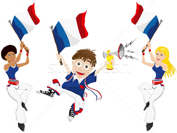 France Sport Fan with Flag and Horn Stock photo © gubh83