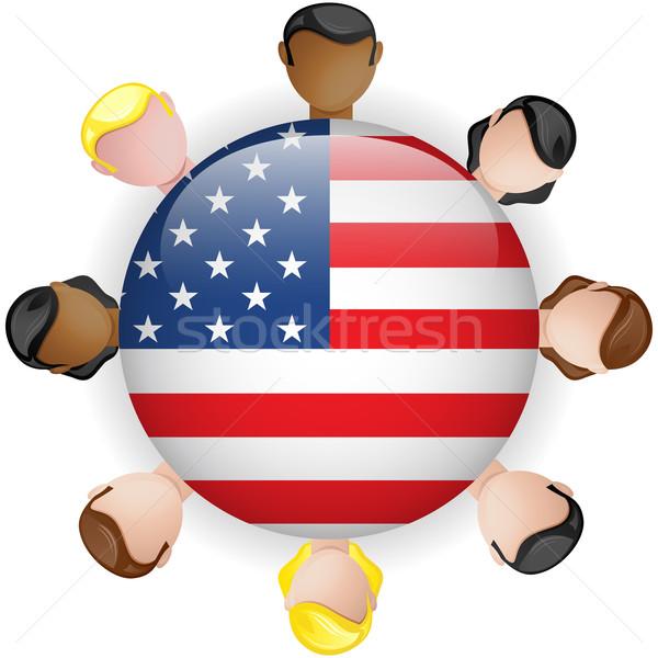 USA banderą przycisk zespołowej ludzi grupy Zdjęcia stock © gubh83