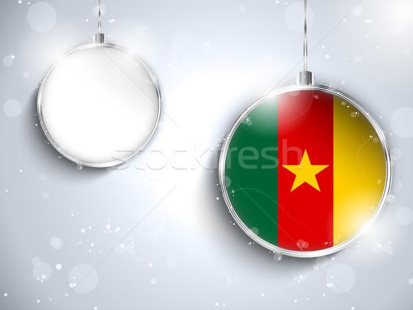 Vrolijk christmas zilver bal vlag Kameroen Stockfoto © gubh83