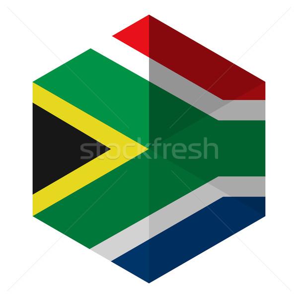 Południowej Afryki banderą sześciokąt ikona przycisk świat Zdjęcia stock © gubh83