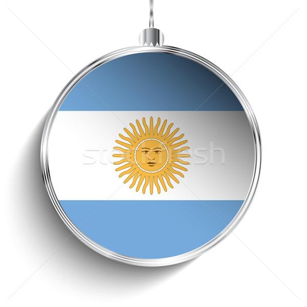 Joyeux Noël argent balle pavillon Argentine Photo stock © gubh83