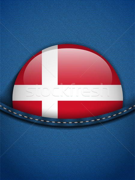 Dinamarca bandera botón jeans bolsillo vector Foto stock © gubh83