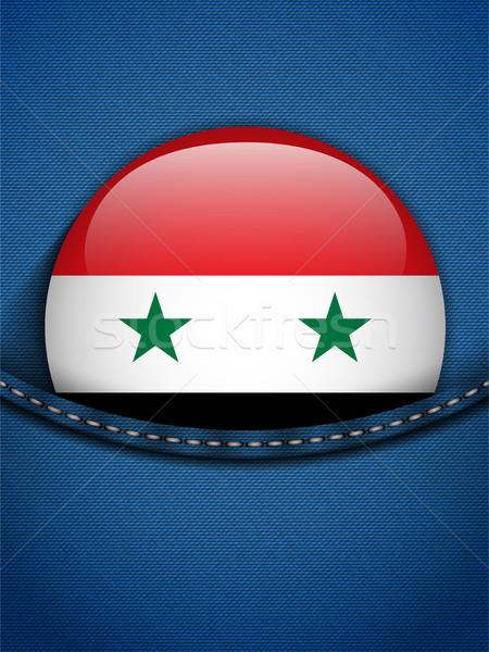 シリア フラグ ボタン ジーンズ ポケット ベクトル ストックフォト © gubh83